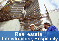 Real estate, Infrastructure, Hospitality